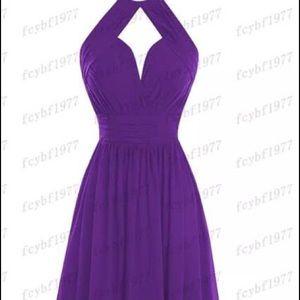 Purple gown halter style neckline